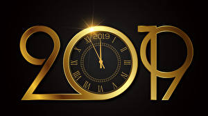 Wallpaper New year Clock Clock face Black background 2019