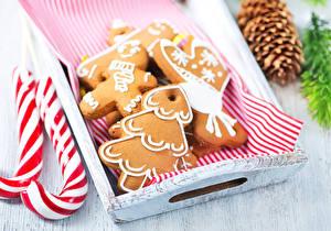 Fotos Neujahr Kekse Süßware Design Lebensmittel