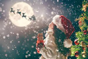 Bilder Neujahr Hirsche Tannenbaum Kugeln Kleine Mädchen Mond Mütze Kinder