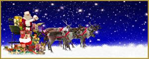 Wallpapers New year Deer Sleigh Gifts Snowflakes
