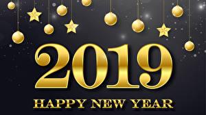 Bilder Neujahr Grauer Hintergrund 2019 Kugeln Stern-Dekoration Englisch