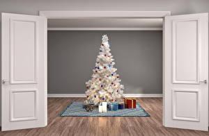 Fotos Neujahr Innenarchitektur Kerzen Tür Weihnachtsbaum Geschenke 3D-Grafik