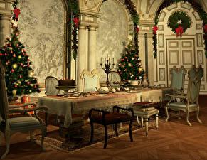 Hintergrundbilder Neujahr Innenarchitektur Tannenbaum Tisch Stuhl Design 3D-Grafik