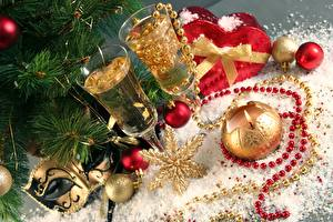 Photo Christmas Masks Champagne Holidays Balls Stemware Gold color