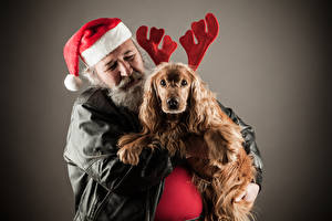 Image Christmas Men Dog Gray background Winter hat Spaniel Horns Animals