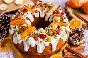 Fotos Neujahr Backware Zimt Zuckerguss Design Lebensmittel