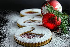 Hintergrundbilder Neujahr Backware Kekse Puderzucker Kugeln das Essen