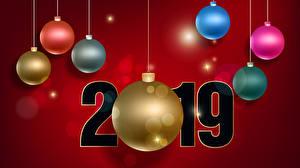 Fotos Neujahr Roter Hintergrund 2019 Kugeln