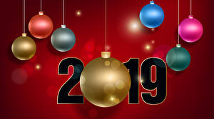 Picture Christmas Red background 2019 Balls