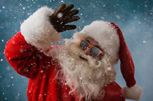 Photo Christmas Santa Claus Beard Glasses Snowflakes Winter hat Glove