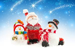 Picture New year Snowman Three 3 Santa Claus Winter hat Beard Hat Scarf