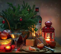 Pictures New year Still-life Candles Mandarine Cheese Wine Ham Nuts Lantern Branches Bottle Balls Stemware