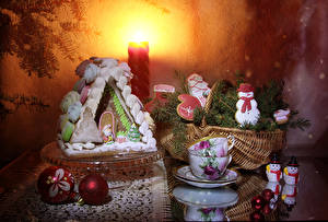 Images New year Still-life Baking Building Cookies Branches Cup Wicker basket Snowman Balls Food