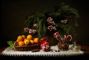 Wallpaper Christmas Still-life Sweets Mandarine Nuts Berry Branches Food