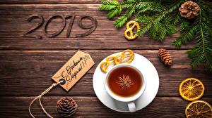 Bilder Neujahr Tee Sternanis Zitrone Bretter 2019 Russischer Ast Zapfen Tasse das Essen