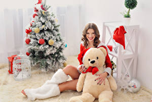 Pictures New year Teddy bear Brown haired Christmas tree Smile Staring Sitting Girls