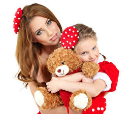 Pictures New year Teddy bear Mother White background Two Brown haired Little girls Glance Children Girls