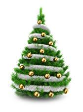 Fotos Neujahr Weißer hintergrund Weihnachtsbaum Kugeln
