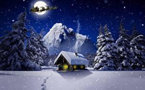 Image Christmas Winter Building Deer Night time Snow Moon Sled