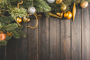 Fotos Neujahr Bretter Ast Kugeln Glocke