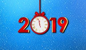 Papel de Parede Desktop Relógio Ano-Novo 2019