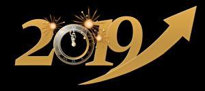 Fotos Uhr Zifferblatt Neujahr Schwarzer Hintergrund 2019