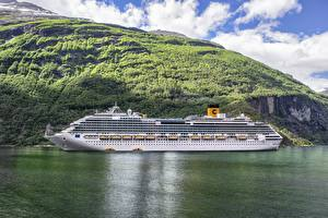 Pictures Cruise liner Ships Sea Mountain Norway Costa Favolosa, Fjord Nature