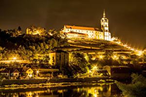 Photo Czech Republic Castles Night Tower Miller's Castle, town of Melnik Cities