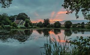 Bilder England See Sonnenaufgänge und Sonnenuntergänge Gebäude Hartley Mauditt Hampshire Natur