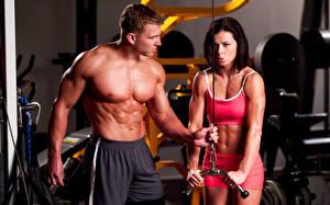 Bilder Fitness Mann Zwei Brust Bauch Muskeln Sport