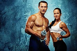Pictures Fitness Man Two Staring Muscle Dumbbells Sport