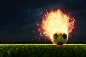 Photo Footbal Fire Ball Sport