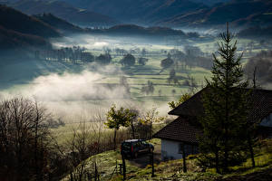 Pictures France Fields Building Fog Basque Nature