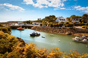 Images France Building Rivers Speedboat Autumn Doelan Brittany Cities