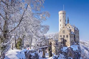 Fotos Deutschland Burg Winter Felsen Schnee  Städte