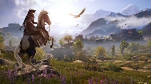 Sfondi desktop Cavallo Guerrieri Montagna Il prato Assassin's Creed Odyssey gioco Grafica_3D Natura