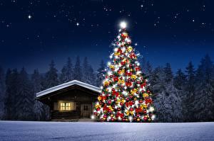 Hintergrundbilder Haus Wälder Nacht Tannenbaum Schnee Natur