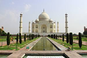 Bilder Indien Moschee Taj Mahal Design Kuppel Mausoleum, Agra Städte