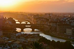 Photo Italy Florence Sunrises and sunsets River Bridges Houses Arno river Cities