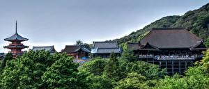デスクトップの壁紙、、京都市、日本、山、寺院、Kiyomizu-Dera、