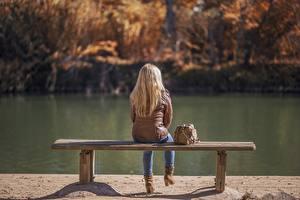 Pictures Lake Autumn Handbag Blonde girl Jacket Sitting Bench Girls