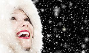Sfondi desktop Le labbra Cappuccio Labbra rosse Denti Felice Fiocco di neve Ragazze