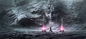 Wallpapers Sorcery Mage wizard Stone Walls Face Fantasy 3D_Graphics