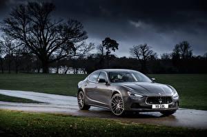 Hintergrundbilder Maserati Grau Metallisch 2013-17 Ghibli Autos