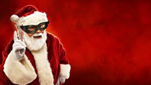 Wallpaper Masks Red background Santa Claus Winter hat Beard Glove