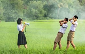 Pictures Men Asiatic Grass Three 3 Brunette girl Megaphone Shorts Girls