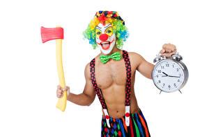 Desktop hintergrundbilder Mann Uhr Wecker Weißer hintergrund Clowns Querbinder