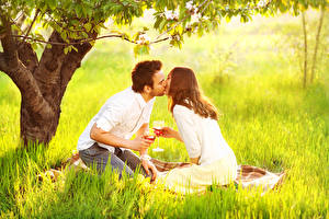 Photo Man Couples in love Wine Grass Picnic Two Kissing Stemware On a date Girls
