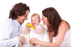 Fotos Mann Drei 3 Baby Fröhliches Braune Haare Kinder Mädchens