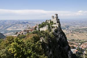 Pictures Mountains Castle Cliff Castle Of San Marino, Republic Of San Marino Cities